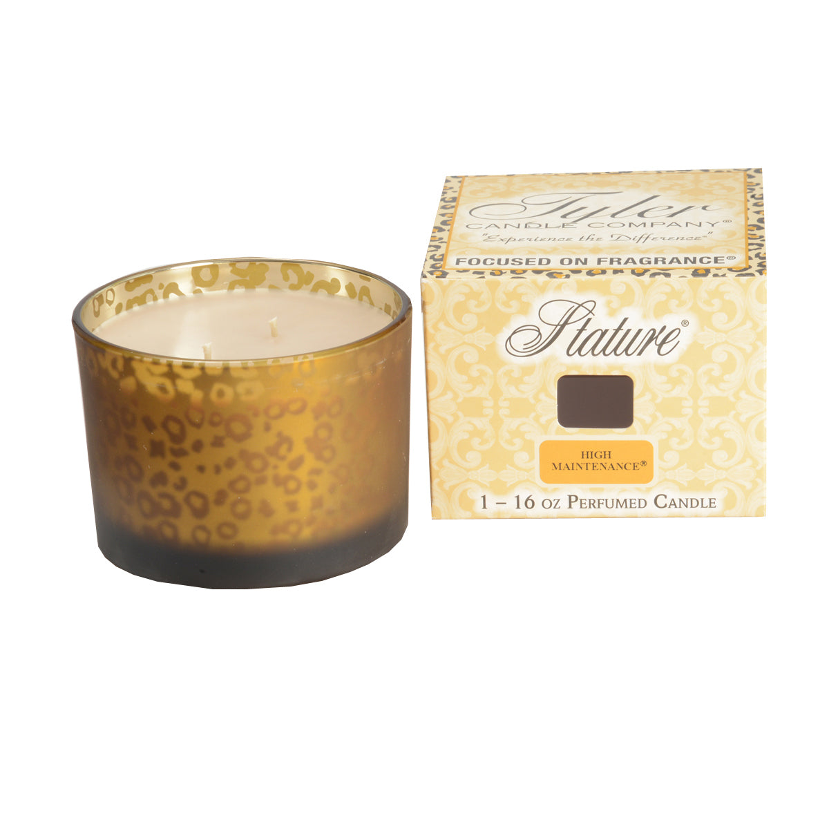 Tyler Candle Company Stature Collection Candle - 16 oz Muted Gold Leopard