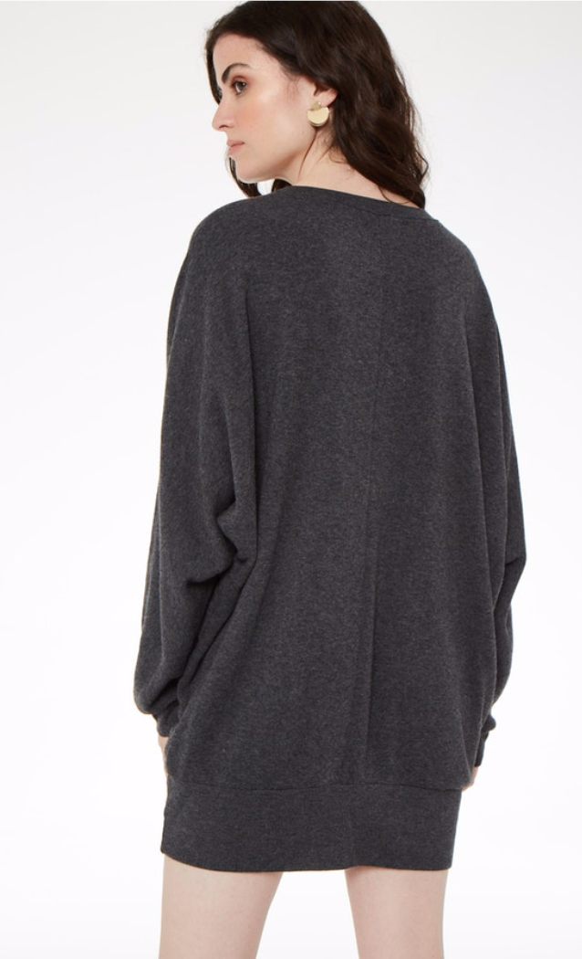 Project Social T Charcoal Oversized Tunic Sweatshirt