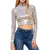 Self Crush Mock Neck Crop Top - Silver Gold Foil