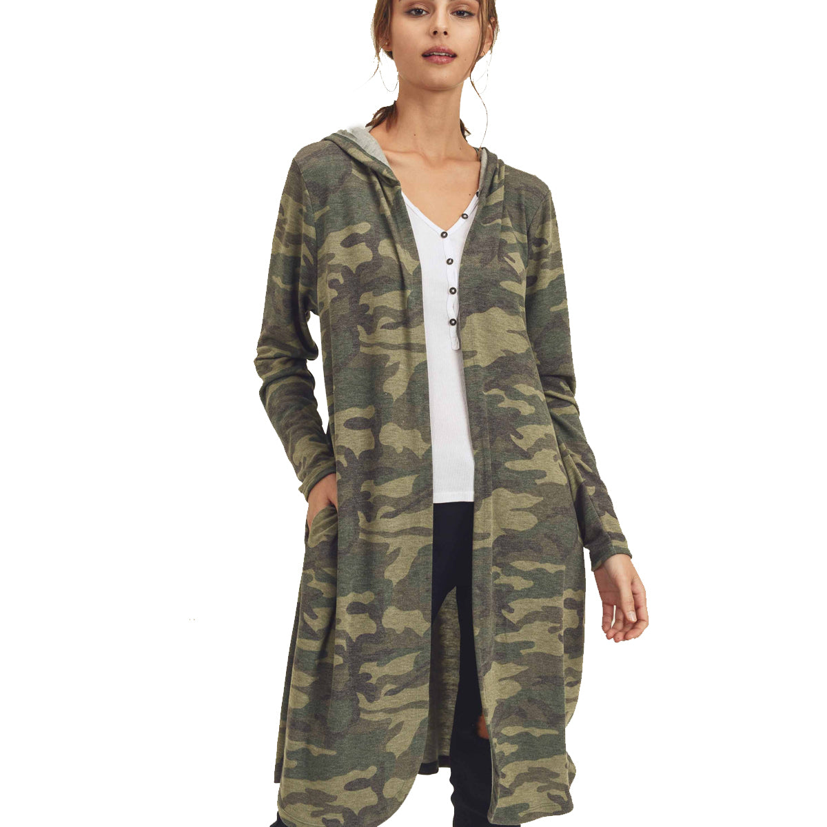 First Love Camo Knit Hooded Cardigan - Army Green