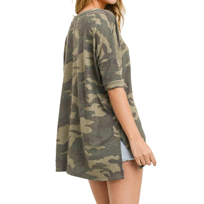 First Love Women's V-Neck Camo Top