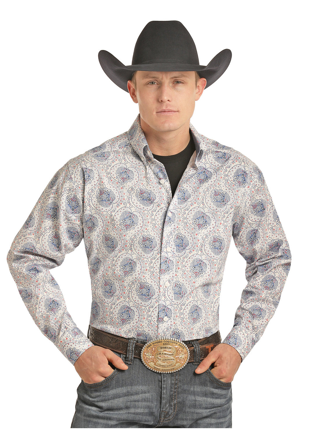 Tuf Cooper Performance Denim Paisley Men's Button Down