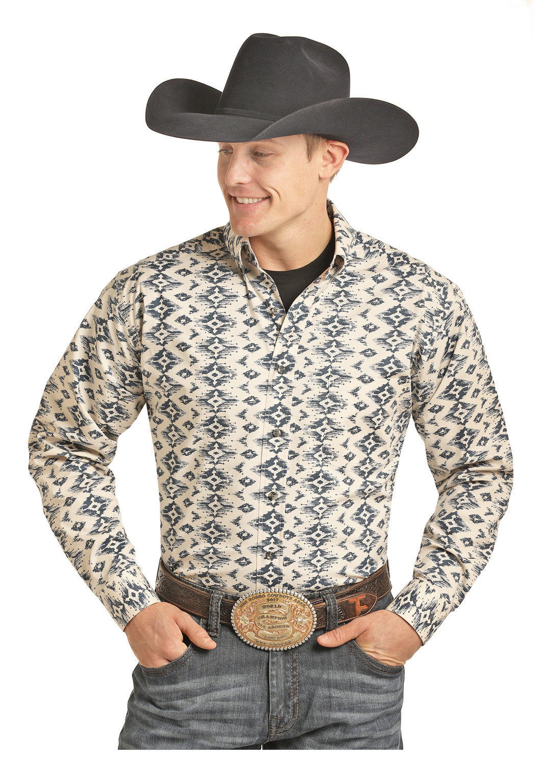 Tuf Cooper by Panhandle White Aztec Men's Button Down