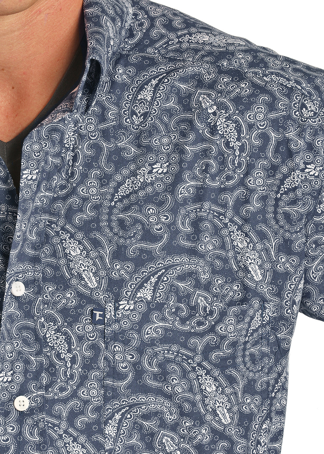 Panhandle Tuff Cooper Performance Long Sleeve Navy Paisley Stretch Shirt