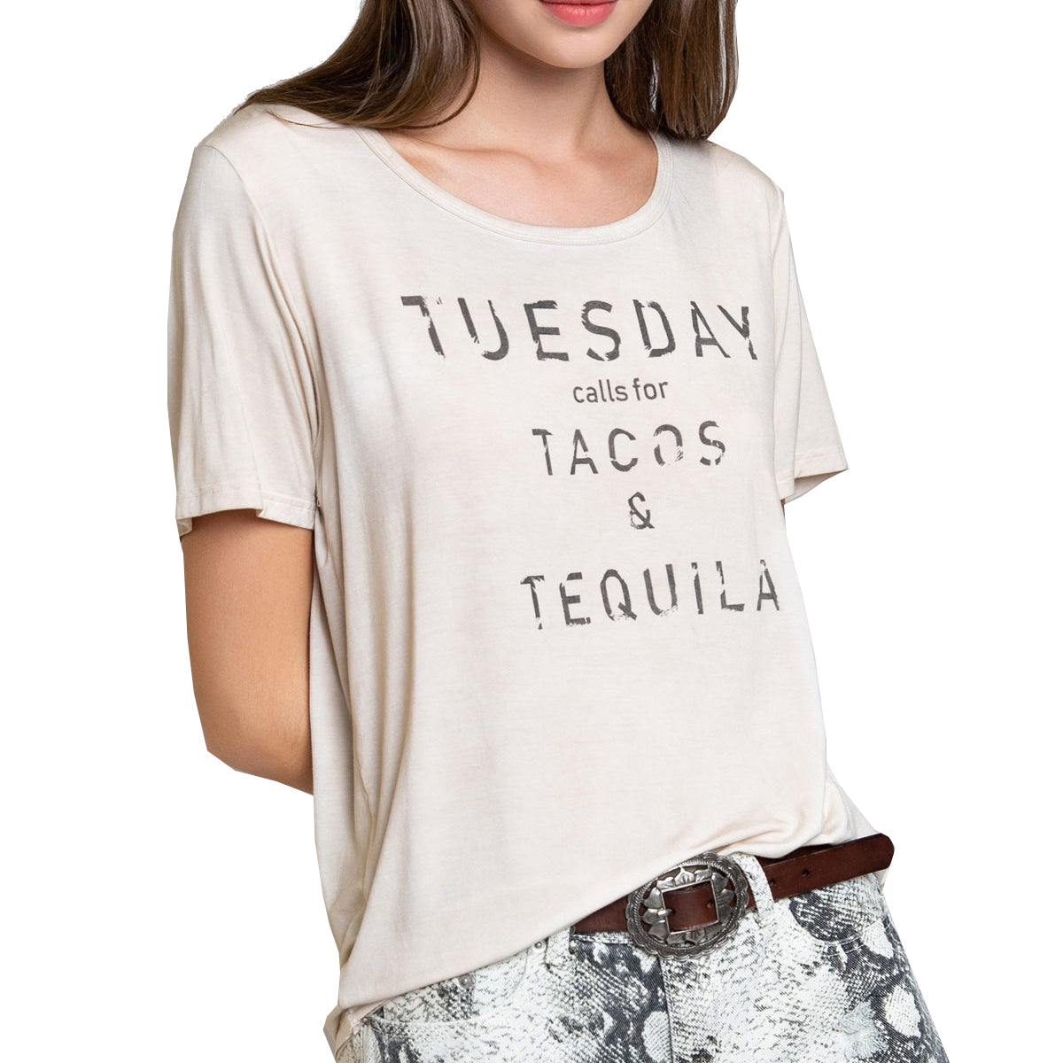 Pol Clothing Women's Taco Tuesday T-Shirt - Almond