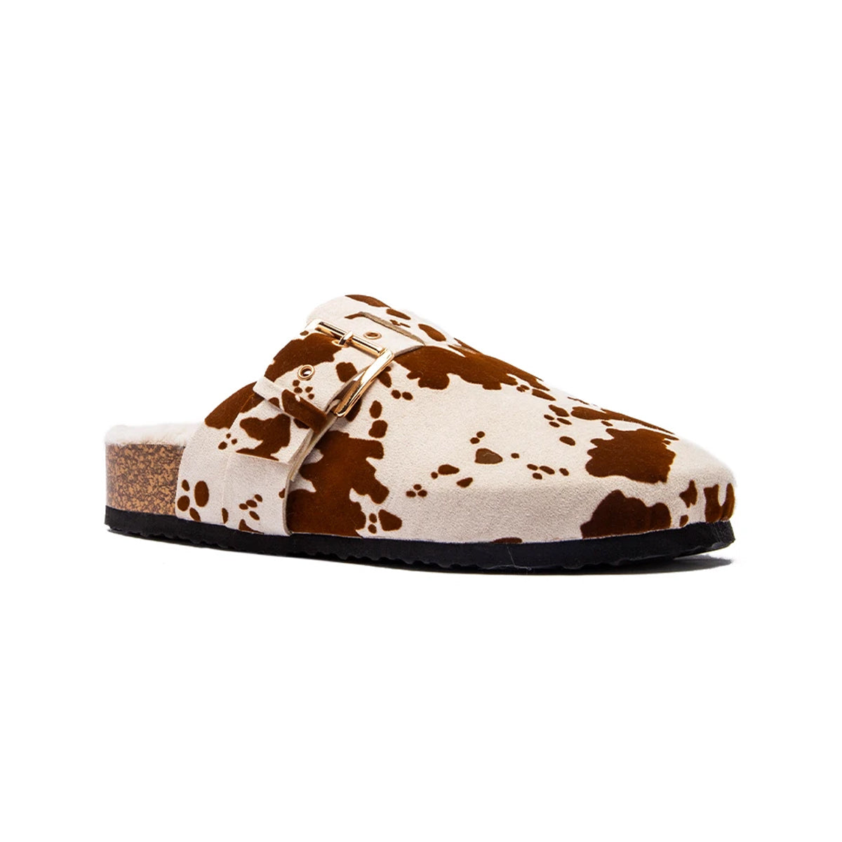 Qupid Women's Luka Close Toe Slide - Beige Brown Calf