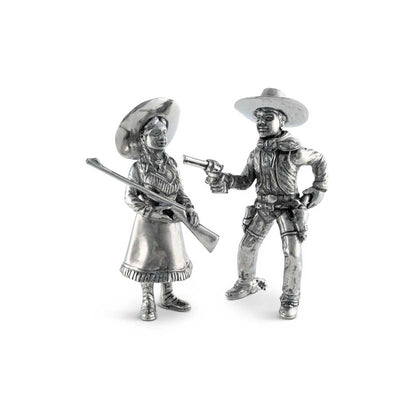 Vagabond House Pewter Cowpoke Couple Salt & Pepper Set