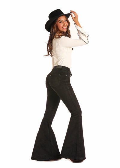 Rock N Roll Cowgirl Black Corduroy Women's Jean