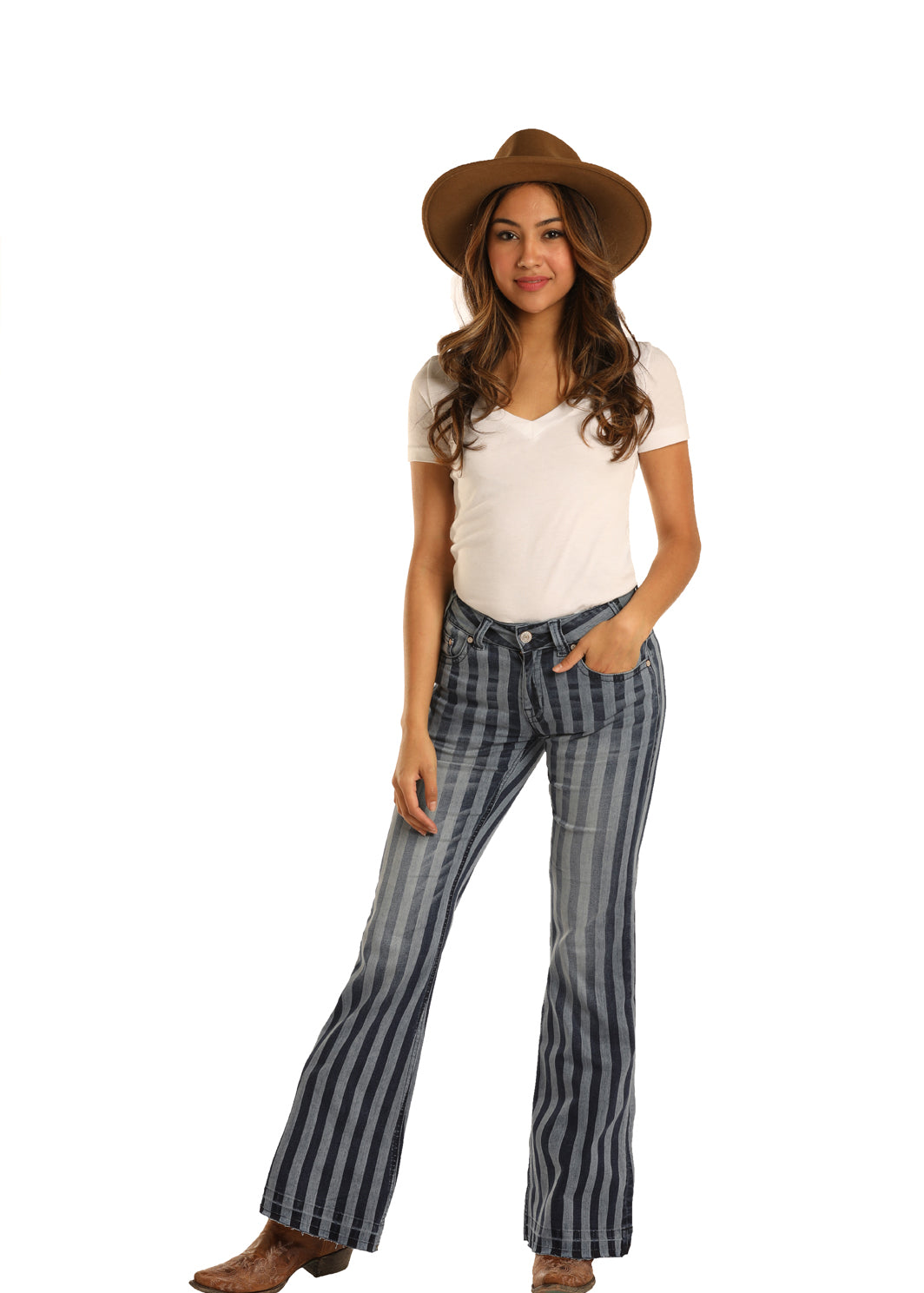 Rock N Roll Cowgirl Stripe Mid-Rise Women's Jean