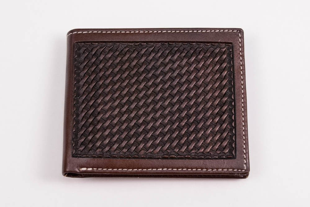 Chocolate Basket Weave Tooled Bi-fold