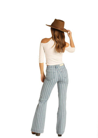 Rock N Roll High Rise Light Was Striped Trouser Jean