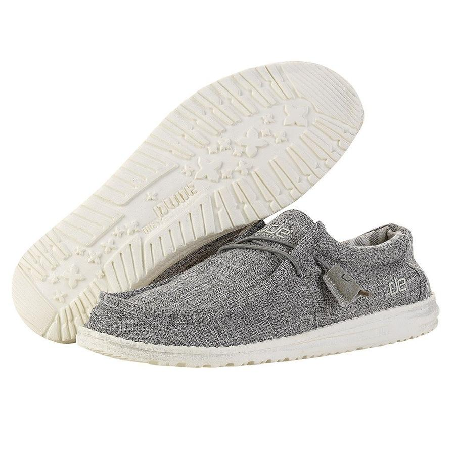 Hey Dude Wally Canvas Men's Shoes - Linen Iron