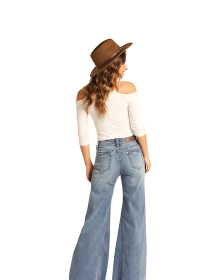 Rock & Roll Cowgirl Palazzo Flare Denim Jeans