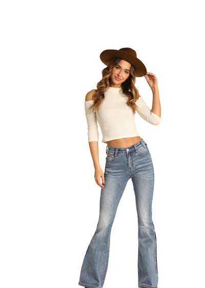 Rock N Roll High Rise Stretch Flare Jean