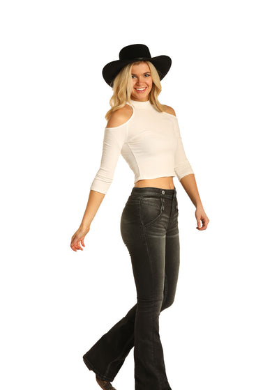 Rock and Roll Cowgirl High Rise Flare Black Denim Jeans