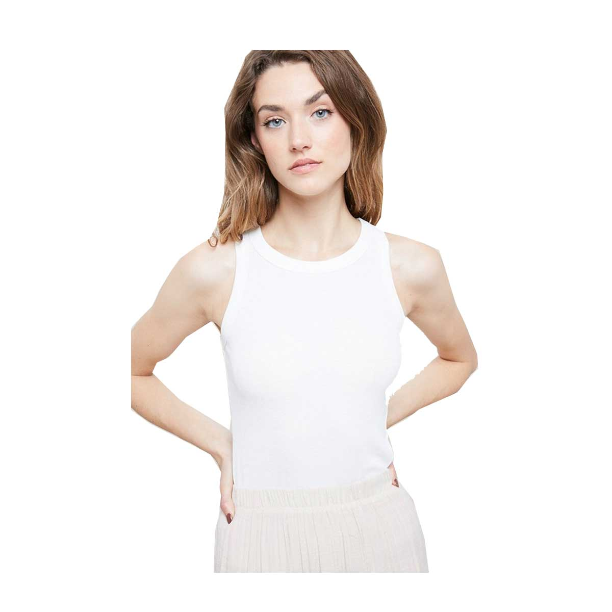 Wish List Sleeveless Fitted Rib Tank - Ivory