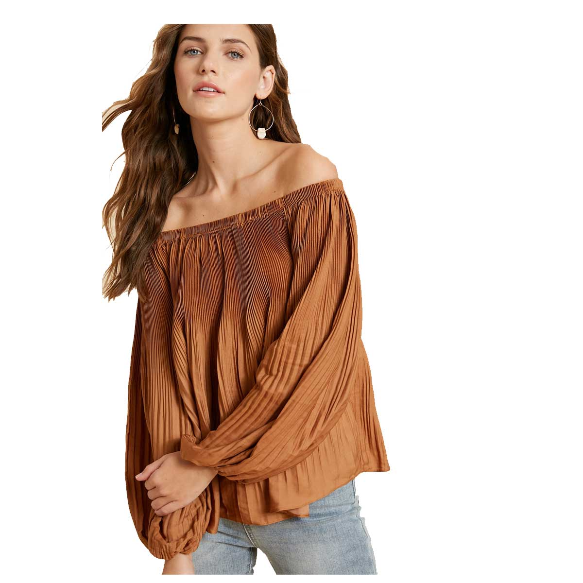 WishList Satin Pleated Off The Shoulder Blouse - Gucci
