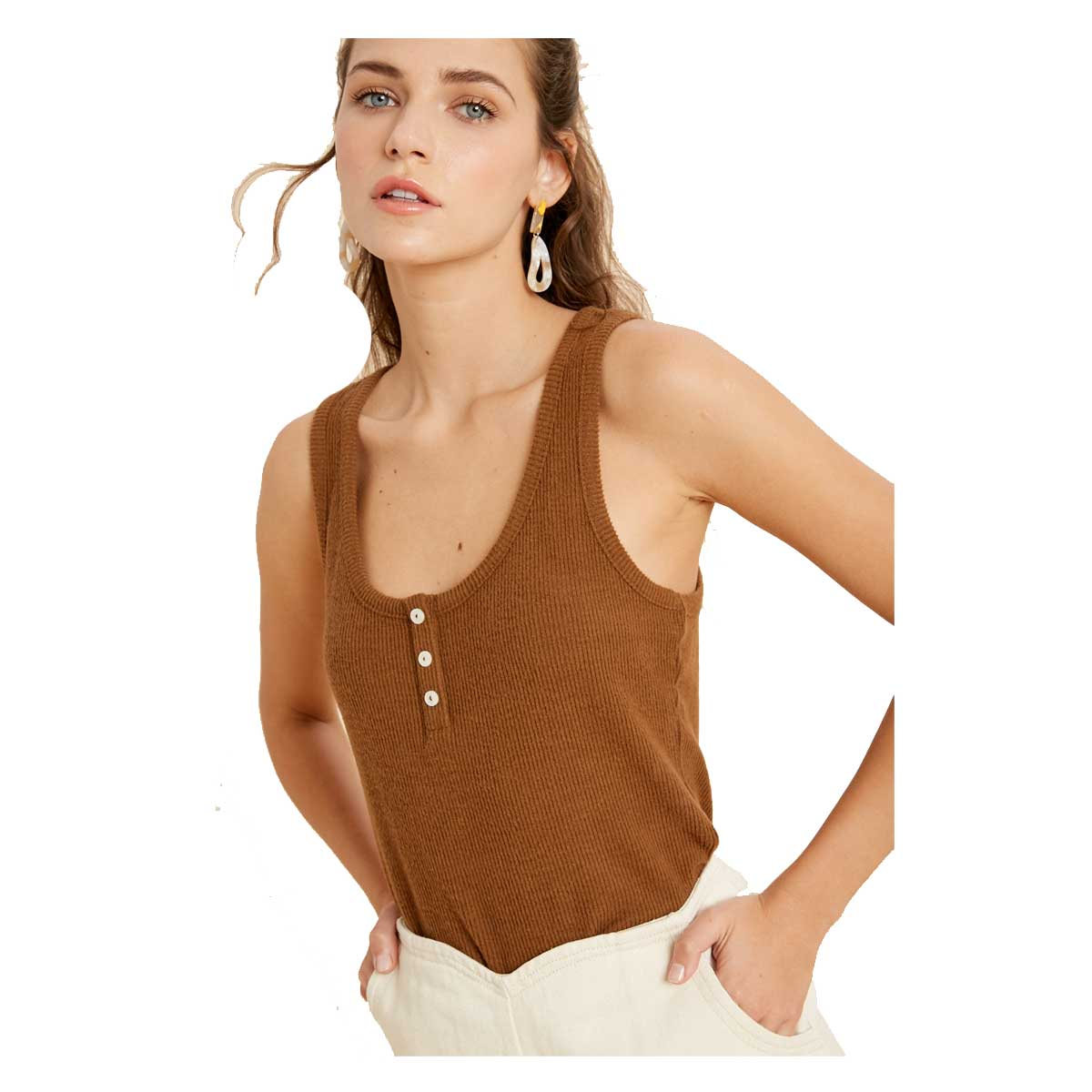 Wishlist Round Neck Basic Sleeveless Top - Camel