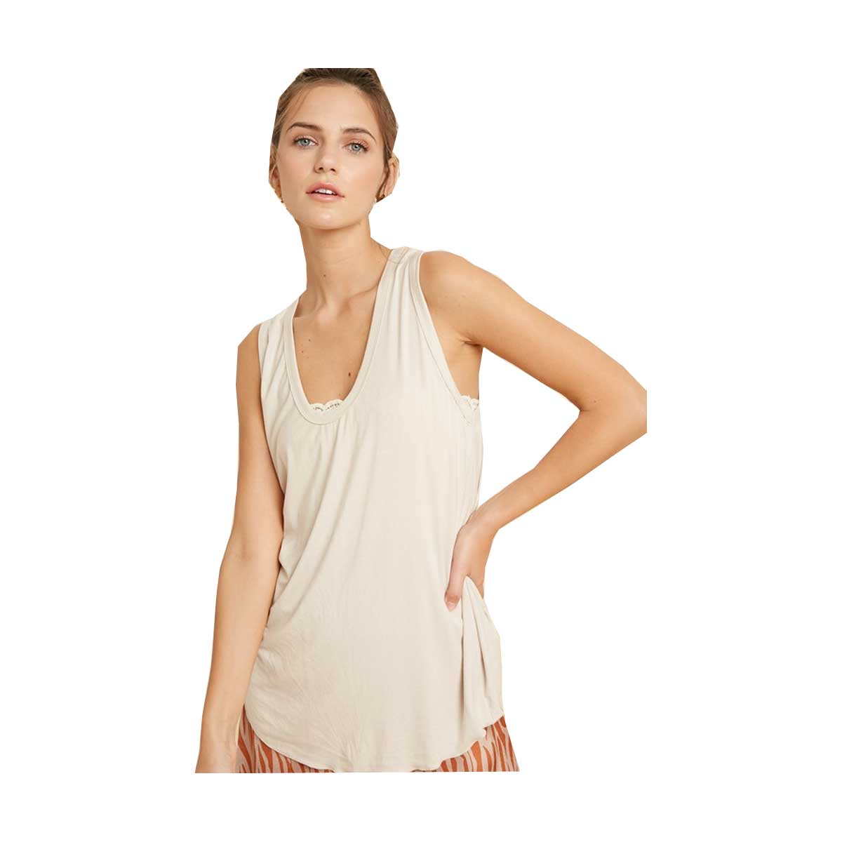 Wish List Super Soft Scoop Neck Knit Tank - Shell