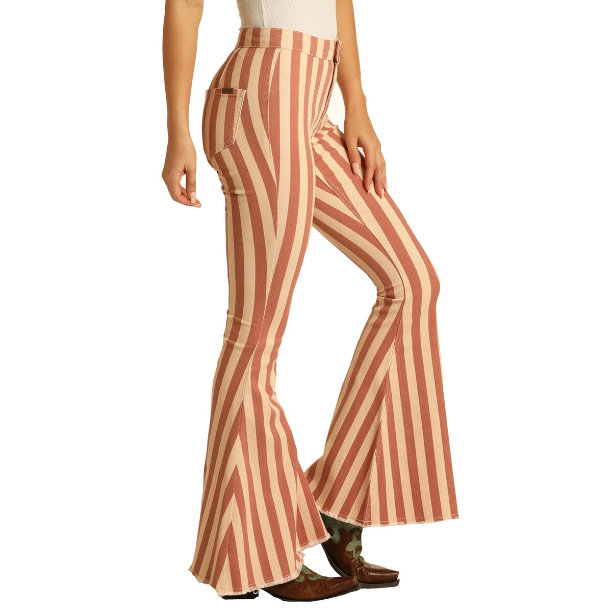 Rock & Roll Cowgirl Women's Bargain Bells Striped Flare Jeans - Peach Mauve