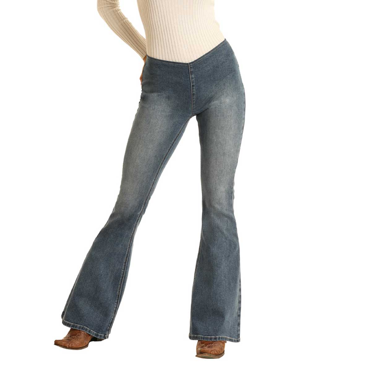 Rock & Roll Cowgirl Women's High Rise Flare Jeans - Light Wash