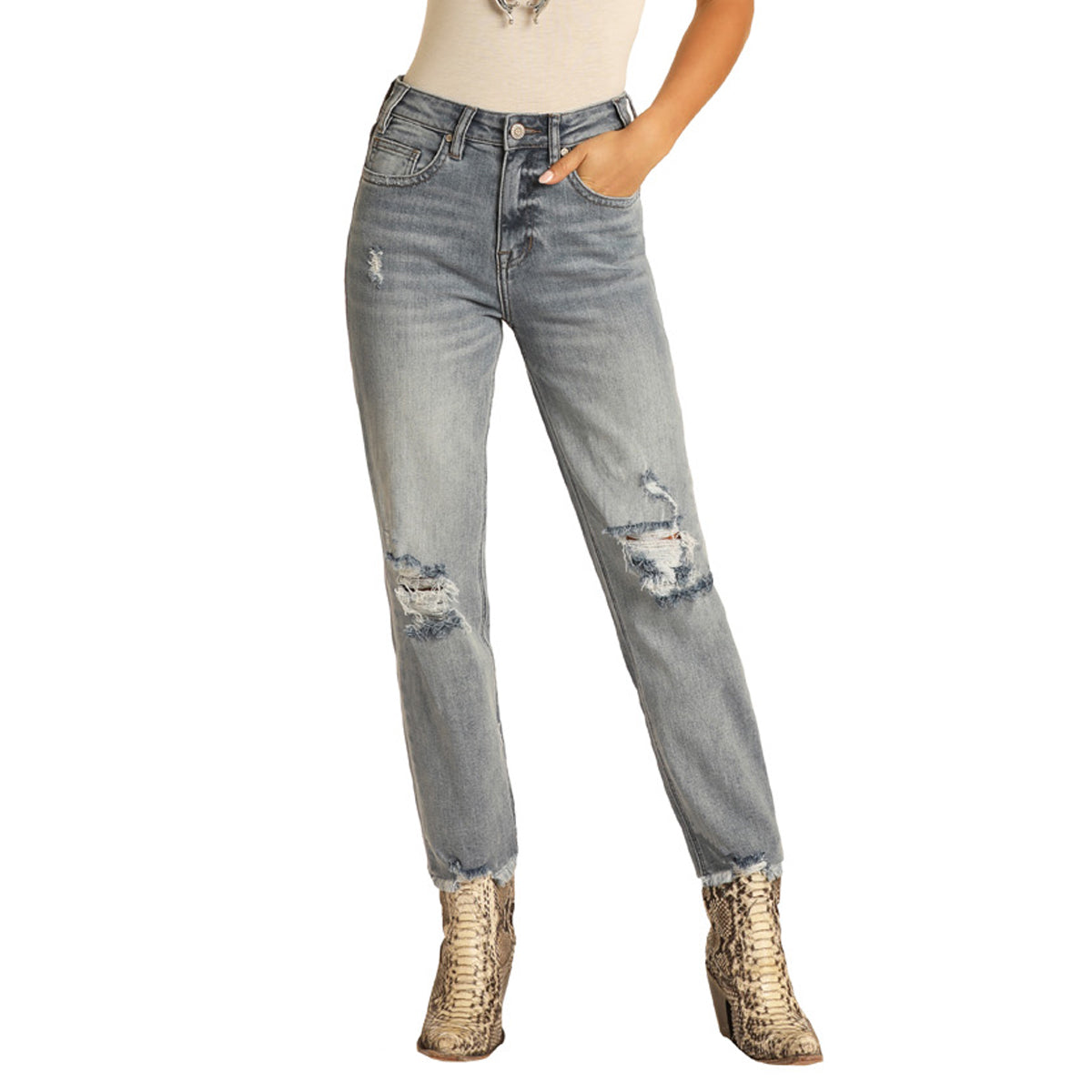 Rock & Roll Cowgirl Women's High Rise Cropped Jeans - Light Vintage