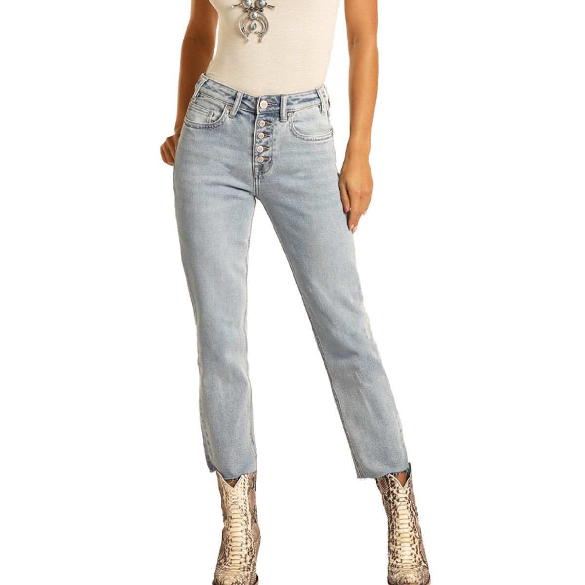 Rock & Roll Cowgirl Women's High Rise Cropped Jeans - Light Wash