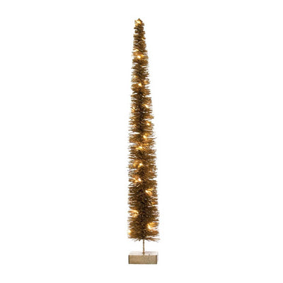 Creative Coop Rattan LED Tree - 5 Inch Gold
