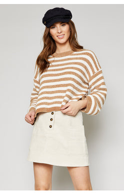 Sadie and Sage Caramel Ione Striped Women's Sweater