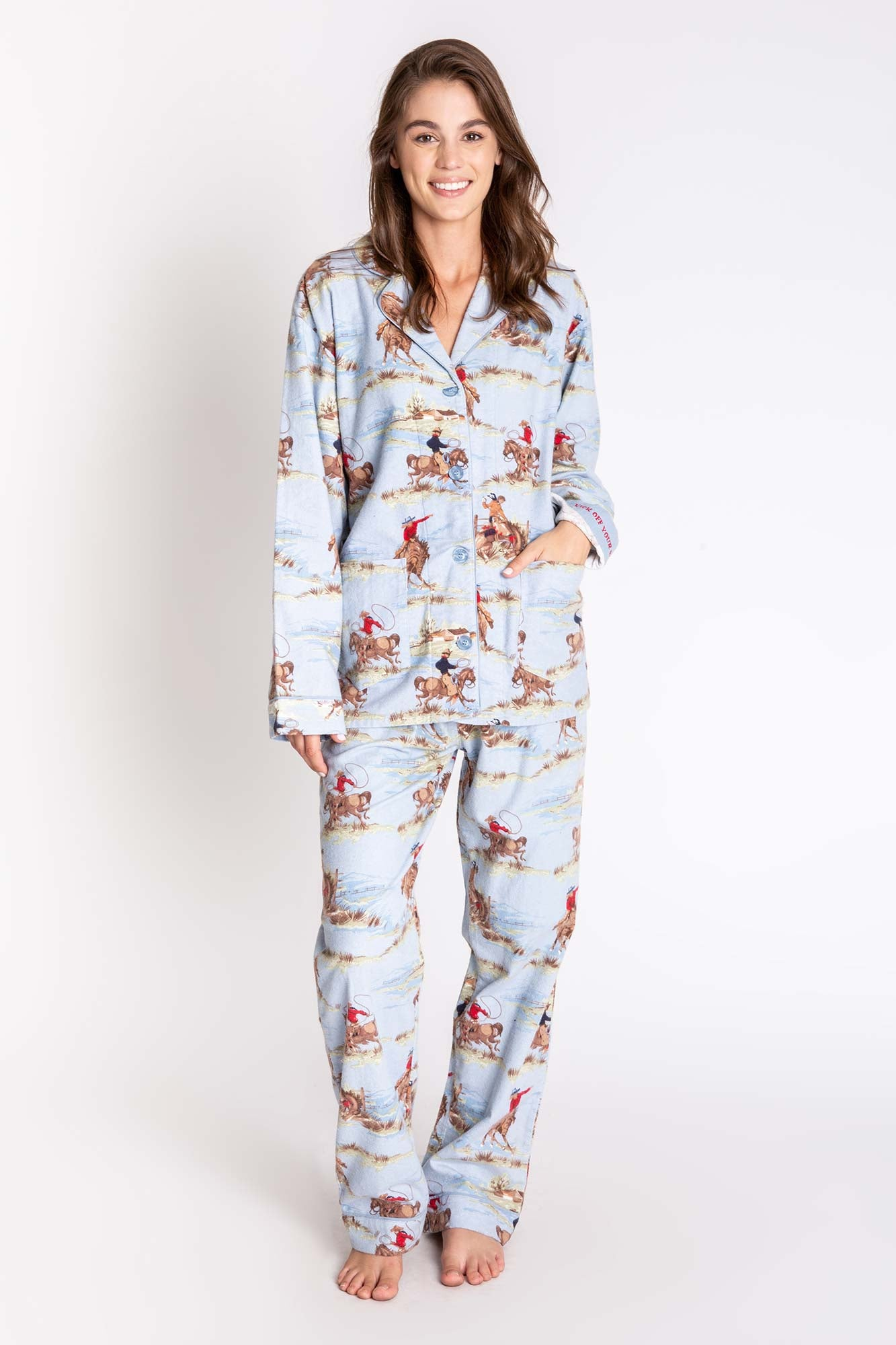 PJ Salvage Western Rodeo Flannel Pajama Set