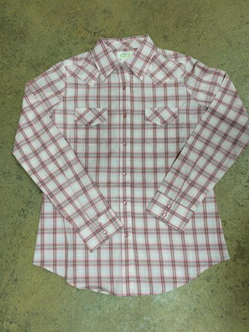 Western Pink and White Plaid Shirt by Wrangler