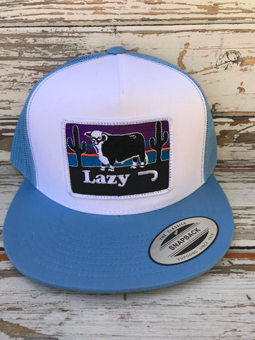 "Alt Baby Blue & White Sunset Patch Cap (4"")"