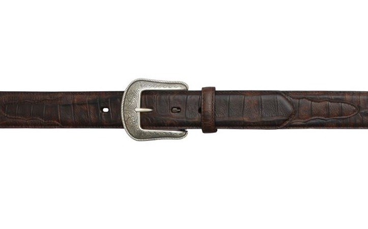 "Men's 1 1/2"" Brown Gator Print Belt"