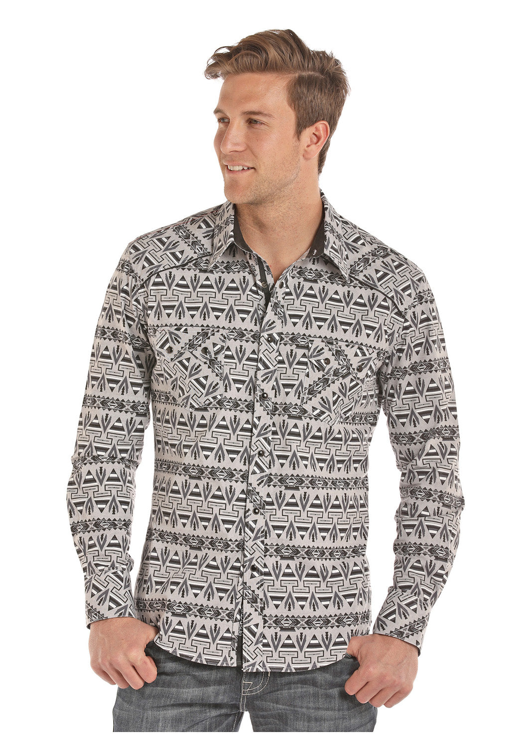 Panhandle Aztec Print Long Sleeve Men's Shirt