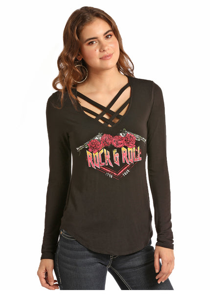 Women's LS Graphic Tee By Rock N Roll Cowgirl