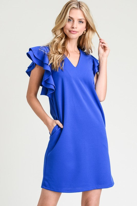 First Love Blue Ruffle Sleeve Dress