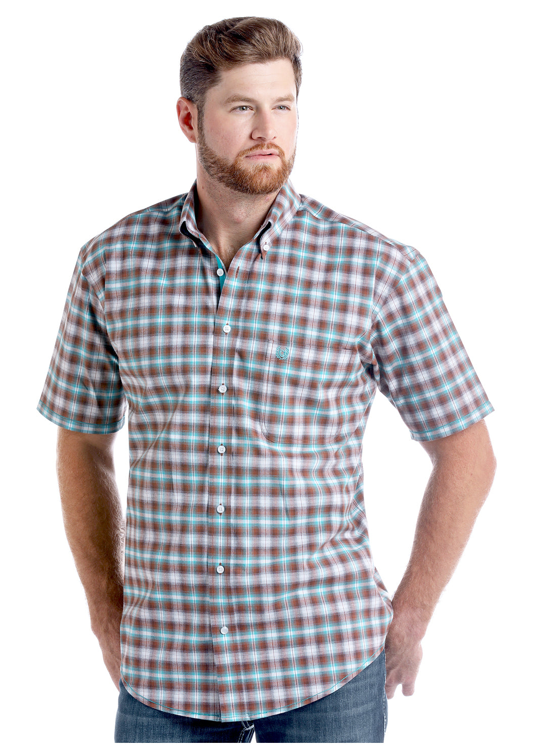 Panhandle Short Sleeve Plaid Men's Button Down