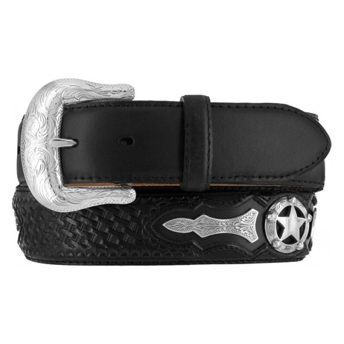 Justin Western Mens Belt Leather Trophy Made In The USA Embossed Black 242BK