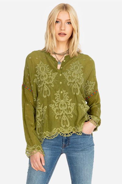 Johnny Was Ella Forest Green Ella Women's Blouse