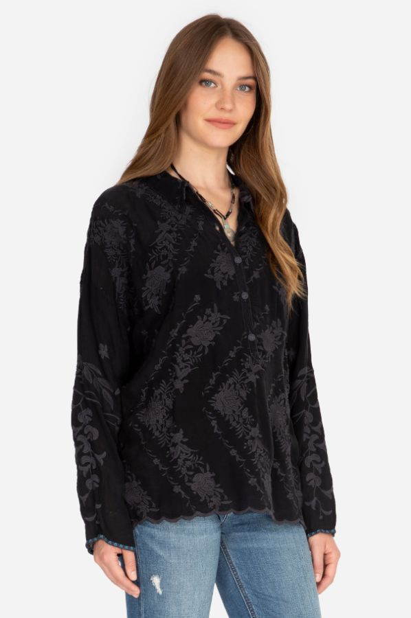 Johnny Was Daiso Sanded Black Embroidered Tonal Blouse