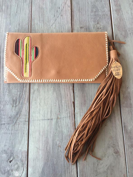 Vintage Leather Cactus Clutch by Lantana Made