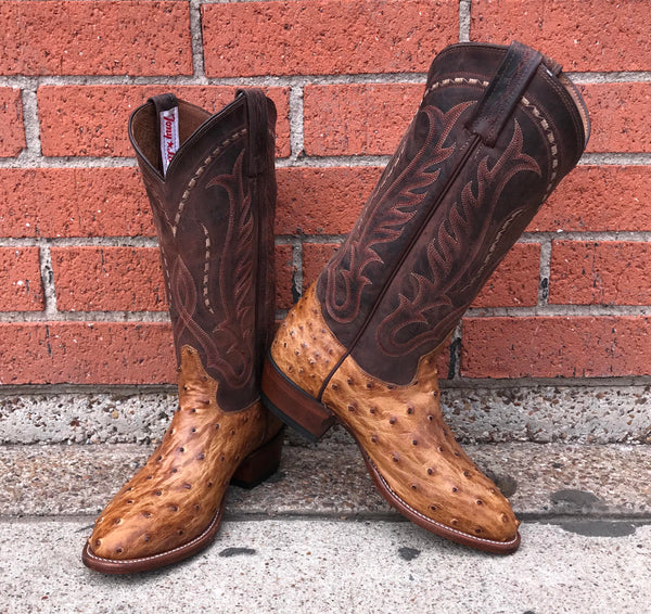 b51992f6301 Tony Lama Antique Saddle Vintage Full Quill Ostrich Men s Boots - Lazy J  Ranch Wear