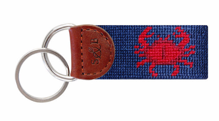 Crab Needlepoint Key Fob by Smathers & Branson