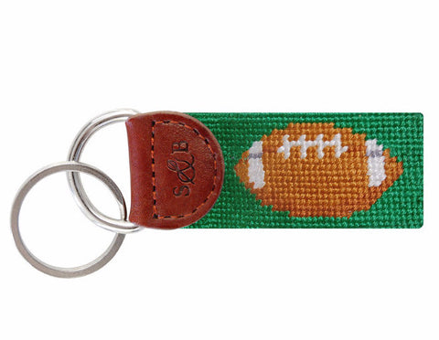 Football Needlepoint Key Fob by Smathers & Branson