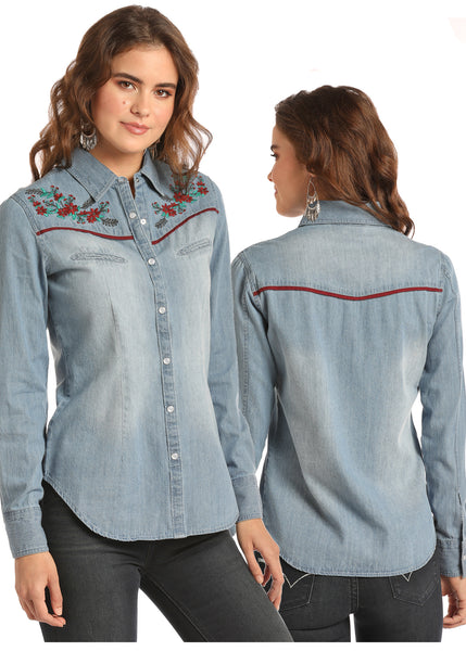 Women's Denim Pearl Snap Top By Rock & Roll Cowgirl