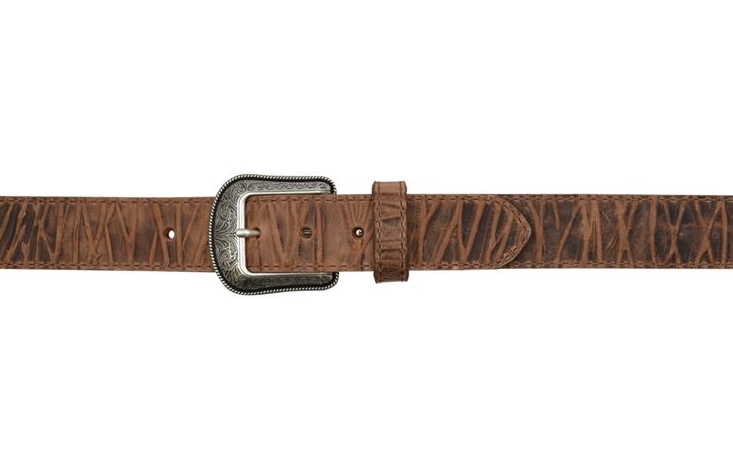 "Embossed Brown Men's Western 1 1/2"" Belt"