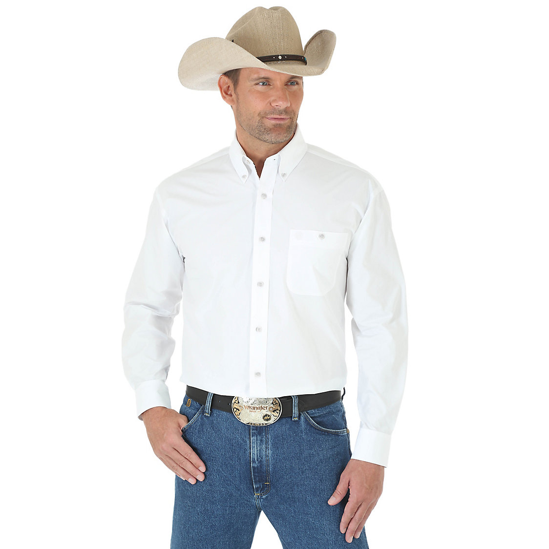 Wrangler Men's George Strait National Patriot Button Down Long Sleeve Shirt - Solid White