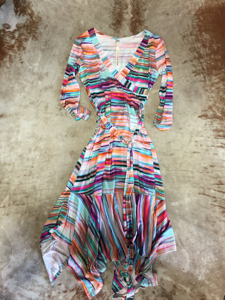 Serape Faux Wrap Dress By Uncle Frank