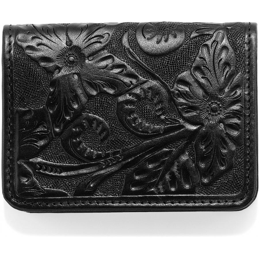 Men's Bi-Fold Floral Tooled Black Wallet