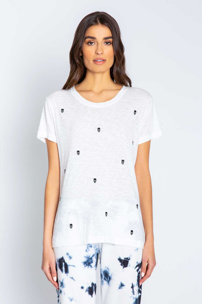 PJ Salvage White Graphic T-Shirt with Embroidered Skulls